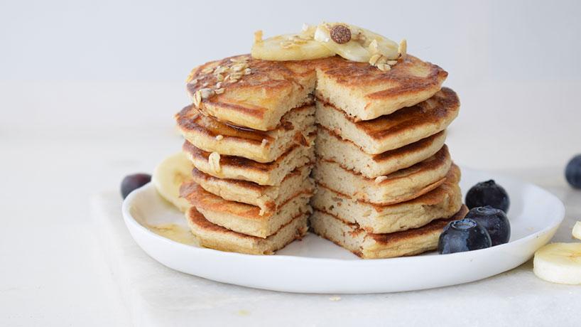 Fluffy boekweitpancakes met salted maple syrup